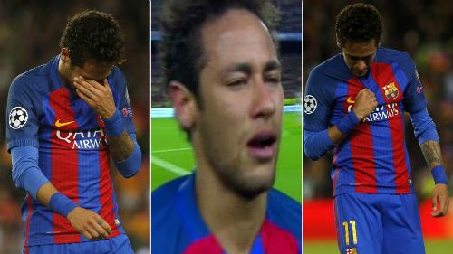 Neymar lập kỷ lục về số lần mất bóng và bật khóc khi Barca bị loại
