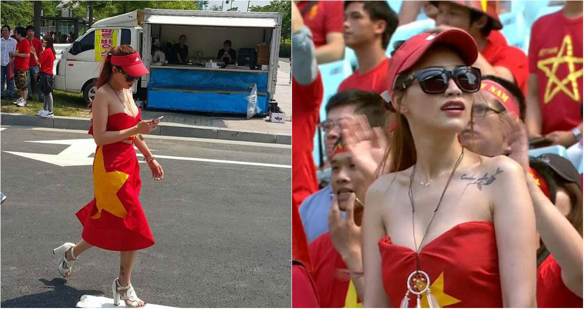 Mỹ nhân quấn cờ tổ quốc quanh người để cổ vũ U20 Việt Nam là ai?