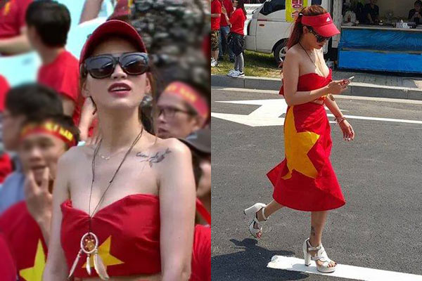 Nữ cổ động viên dùng cờ Tổ quốc quấn ngang hông nói gì?