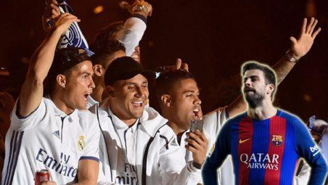 Các cầu thủ Real hùa nhau xúc phạm, đòi Pique cúi chào tân vương La Liga