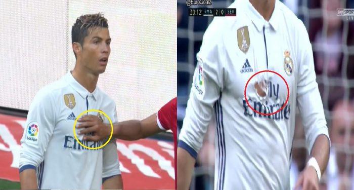 """Bị đối thủ """"xé áo"""" ngay trên sân, Ronaldo phản ứng khiến Fan nể phục"""