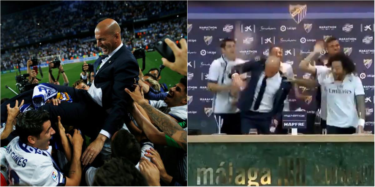 Phấn khích tốt độ, dàn sao Real phá đám buổi họp báo của Zidane