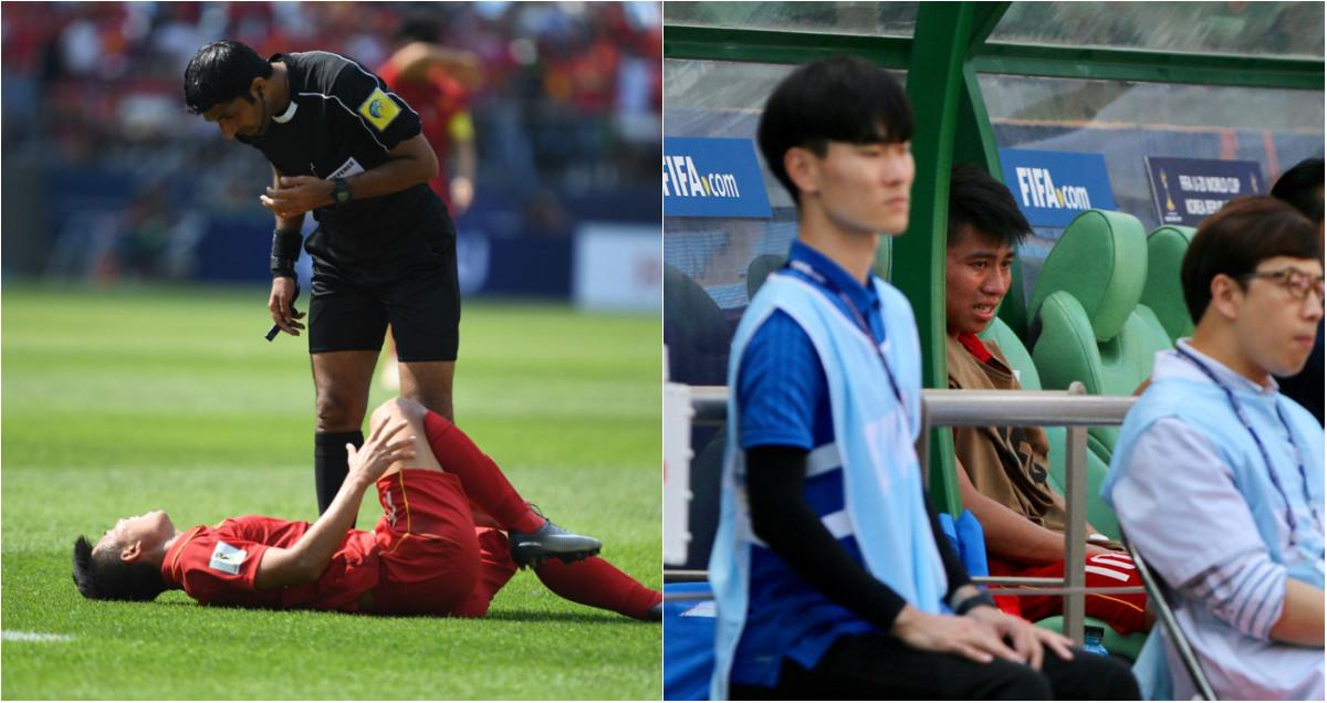 CHÙM ẢNH: Thanh Bình khóc nghẹn khi phải rời sân vì chấn thương