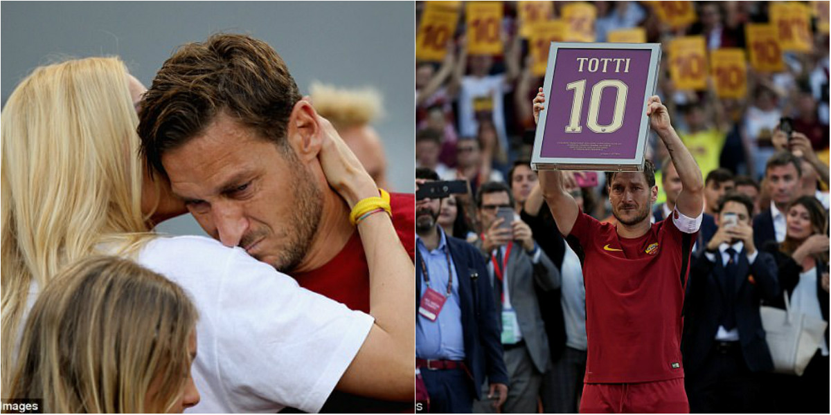 """Chùm ảnh: """"Hoàng tử"""" Totti bỗng trở nên yếu đuối ngày chia tay Roma"""