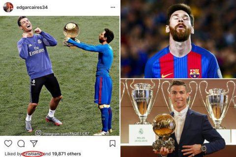 Ronaldo gây bão khi công khai thả tim cho hình ảnh chế giễu Messi