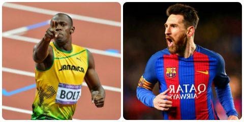 """Messi bất ngờ nhận được lời thách đấu từ """"tia chớp"""" Usain Bolt"""