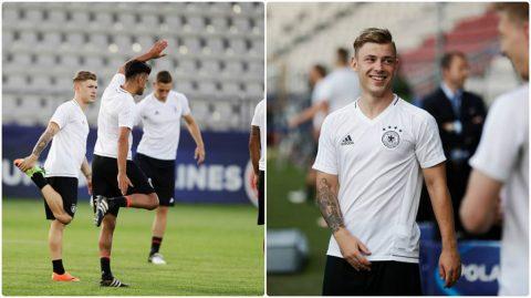 """CHÙM ẢNH: U21 Đức hăng say tập luyện trước đại chiến với """"Bò tót"""""""
