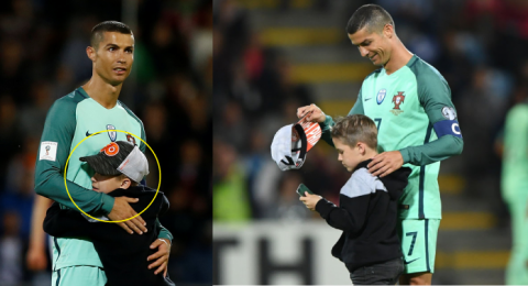 Fan nhí liều mình lao xuống sân chạy về phía Ronaldo và cái kết bất ngờ
