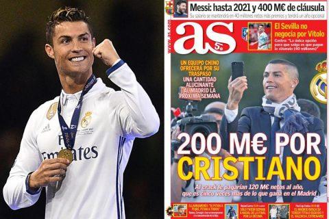 SỐC: Ronaldo được đại gia Trung Quốc hỏi mua với 200 triệu euro