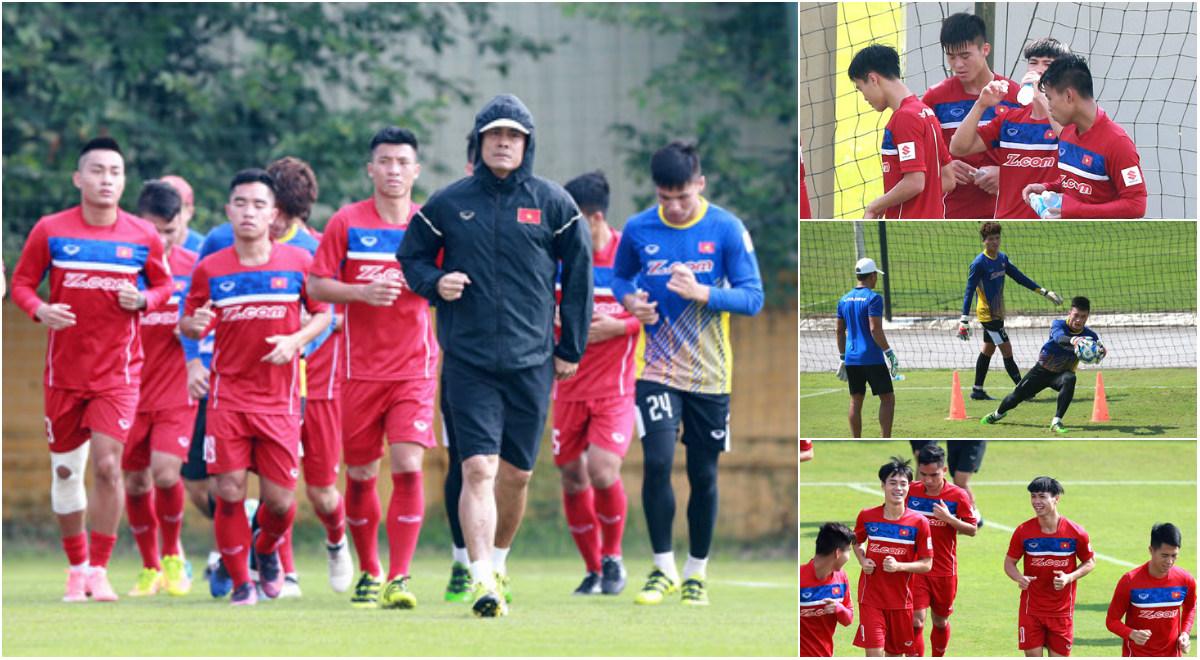 """U22 Việt Nam """"luyện công"""" giữa trời nắng nóng, chuẩn bị chiến dàn sao K-League"""