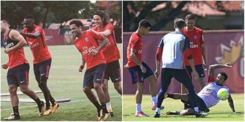 CHÙM ẢNH: Alves hòa nhập cực nhanh với đồng đội trên sân tập