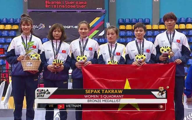 Đội tuyển cầu mây nữ Việt Nam giành HCĐ SEA Games 29