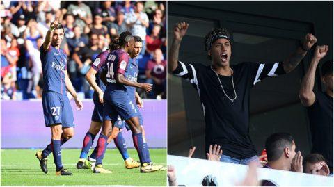 PSG hạ gục đội bóng mới lên hạng, Neymar ăn mừng cuồng nhiệt trên khán đài