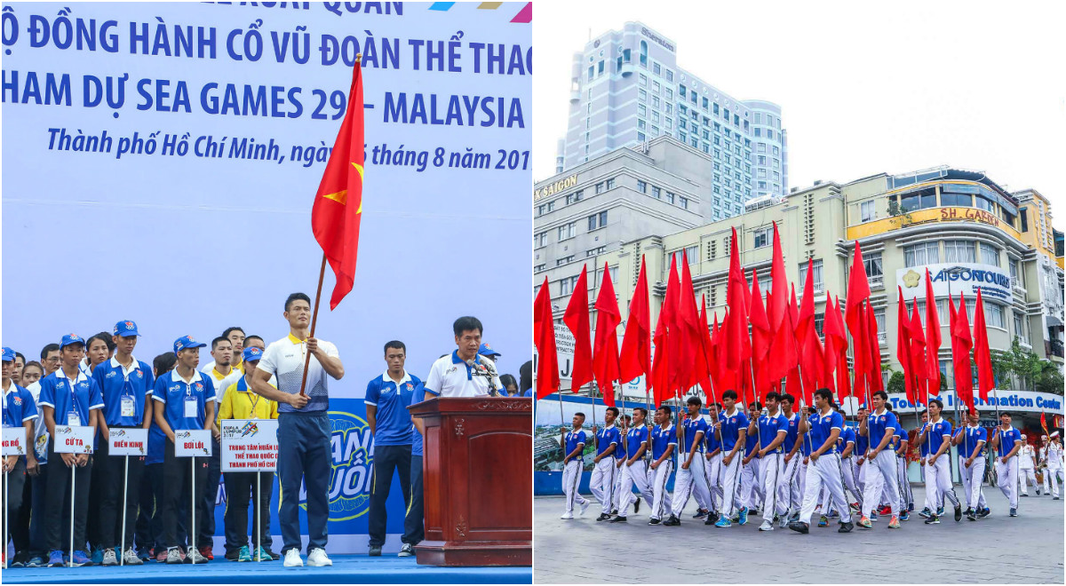 CHÙM ẢNH: Nghiêm trang, lung linh lễ xuất quân SEA Games 29 đoàn Thể thao TP.HCM