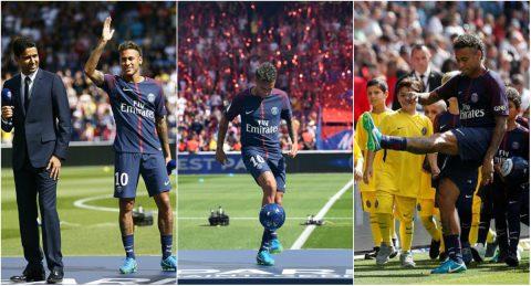 CHÙM ẢNH: Neymar ra mắt 6 vạn CĐV PSG, hoành tráng như siêu sao Hollywood