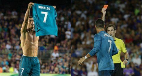 """Ronaldo lập siêu phẩm rồi nhận thẻ đỏ, Real vẫn ngạo nghễ đánh sập Nou Camp dù bị """"xử ép"""""""