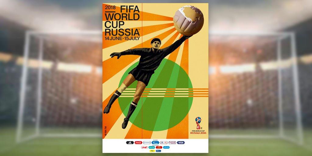 """""""Nhện đen"""" Lev Yashin xuất hiện trên poster World Cup 2018 vừa ra mắt"""