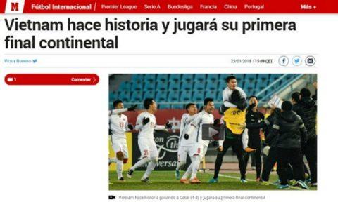 Báo thể thao lớn nhất Tây Ban Nha ngợi ca chiến tích của U23 Việt Nam
