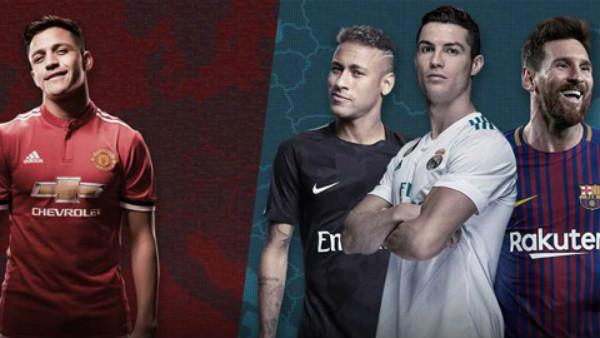 Sanchez ở đâu khi so sánh với Ronaldo, Messi và Neymar?