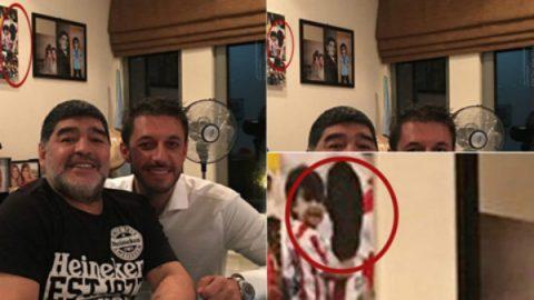 Maradona bôi đen mặt Aguero ở tấm ảnh gia đình