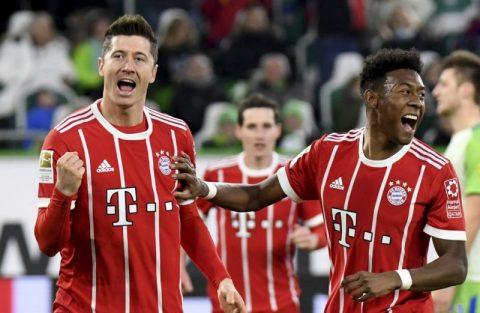 Lewandowski lập công phút cuối, Bayern thắng nhọc Wolfsburg