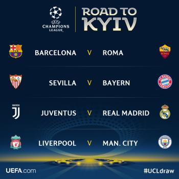 Kết quả bốc thăm tứ kết cúp C1: Đại chiến Real vs Juventus, Liverpool vs Man City