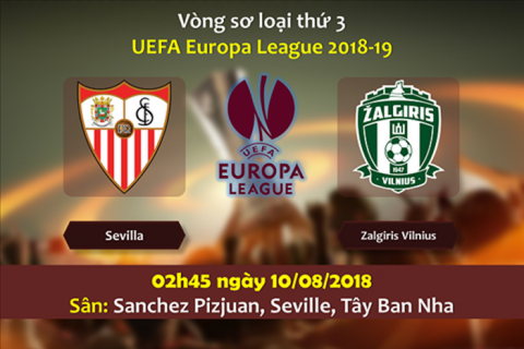 Nhận định Sevilla vs Zalgiris, 2h45 ngày 10/8: Vòng sơ loại thứ 3 Europa League