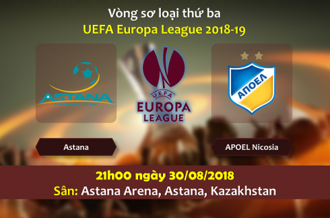 Nhận định Astana vs APOEL, 21h00 ngày 30/8: Europa League