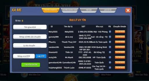 Danh sách đại lý của cổng game Mely Win